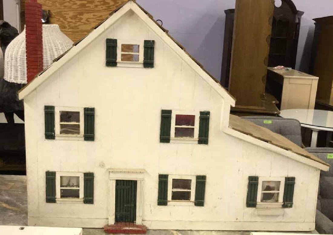 White Toned Painted Wood Doll House