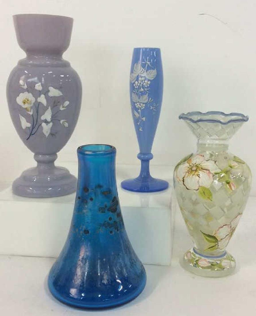 Lot 4 Mixed Set Of Hand Painted Art Glass
