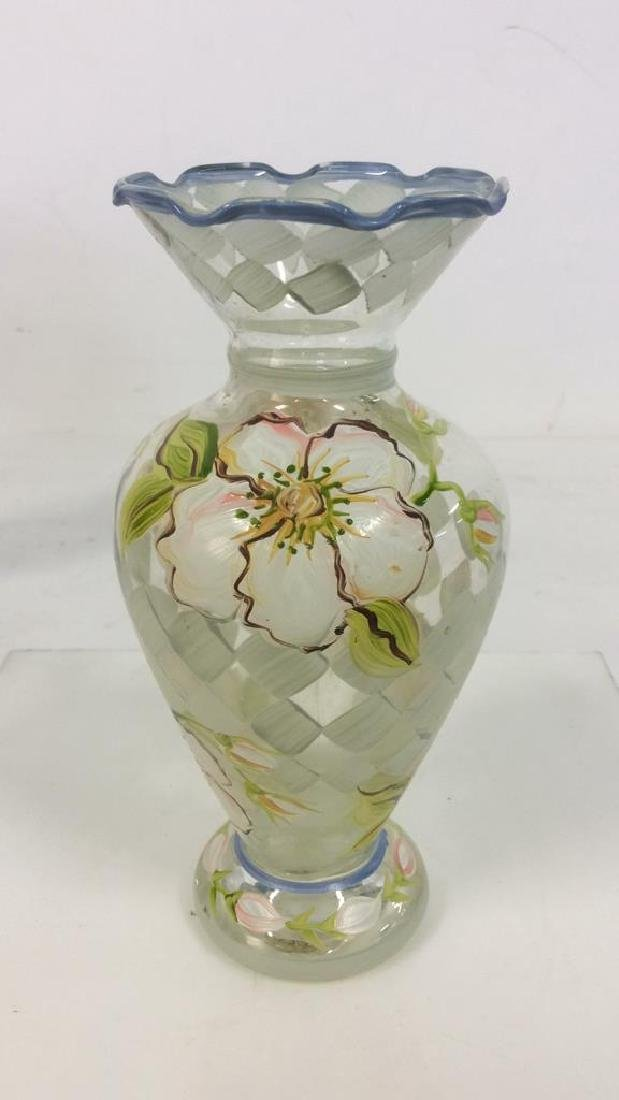 Lot 4 Mixed Set Of Hand Painted Art Glass - 7