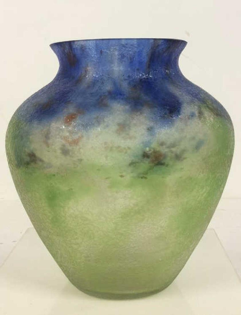 Textured Blue And Green Art Glass Vase - 2