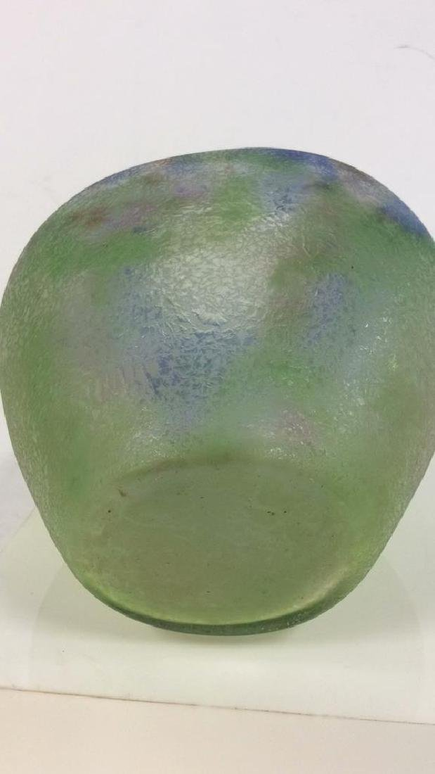 Textured Blue And Green Art Glass Vase - 6