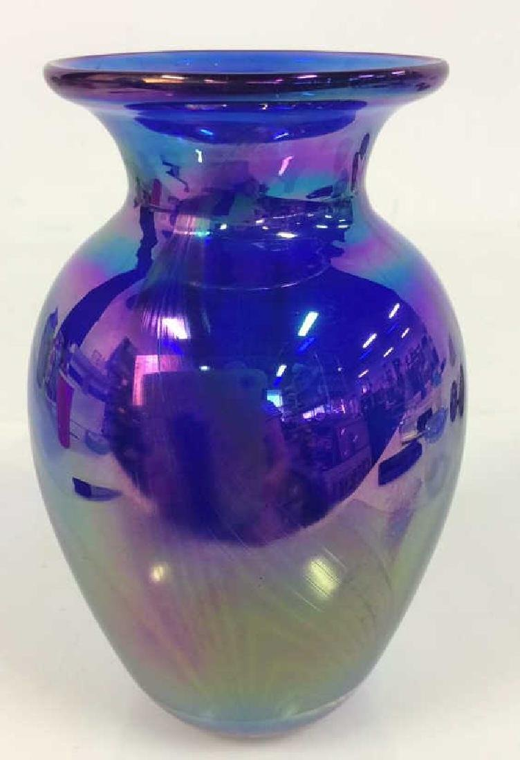 Vintage Signed Iridescent Art Glass Vase
