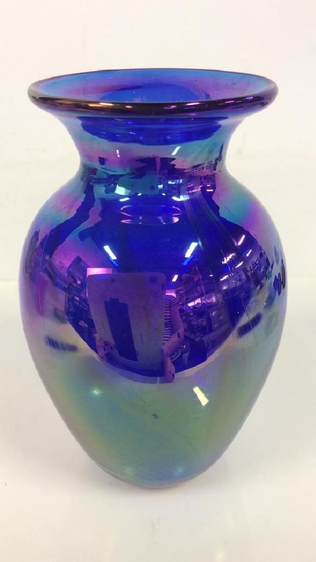 Vintage Signed Iridescent Art Glass Vase - 5