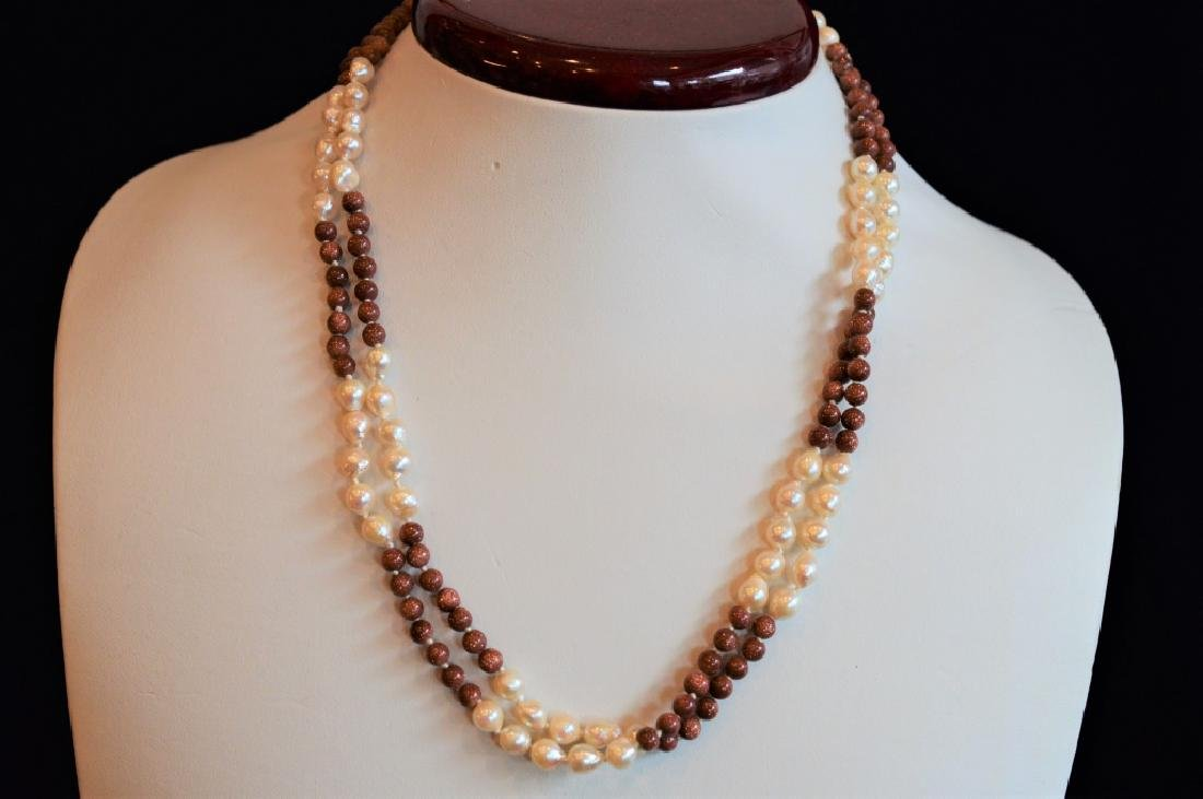 "18"" Dble Strnd Pearl & Shimmer Copper Bead Ncklace"
