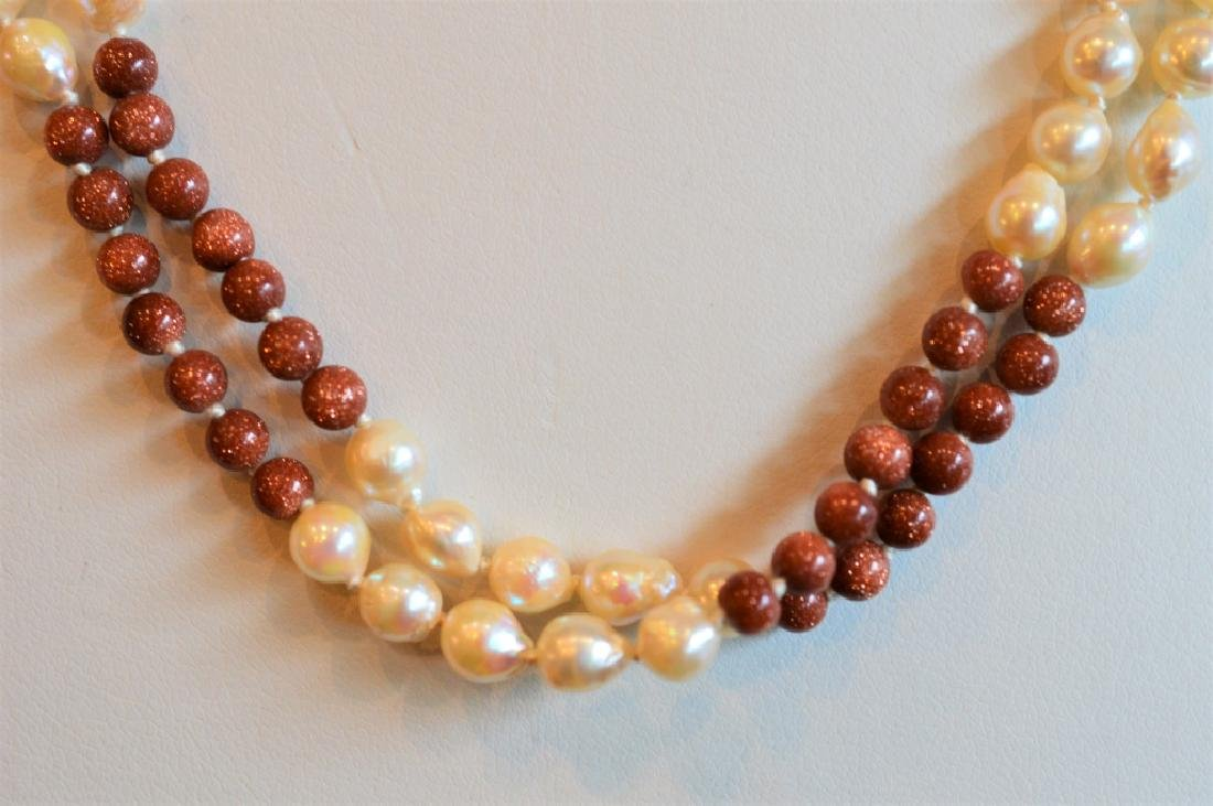 "18"" Dble Strnd Pearl & Shimmer Copper Bead Ncklace - 2"