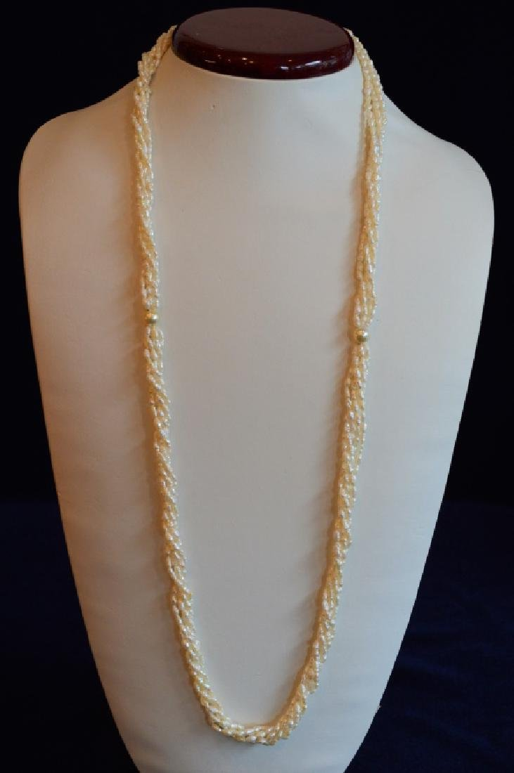"32"" Five Strand Natural Seed Pearl Necklace"