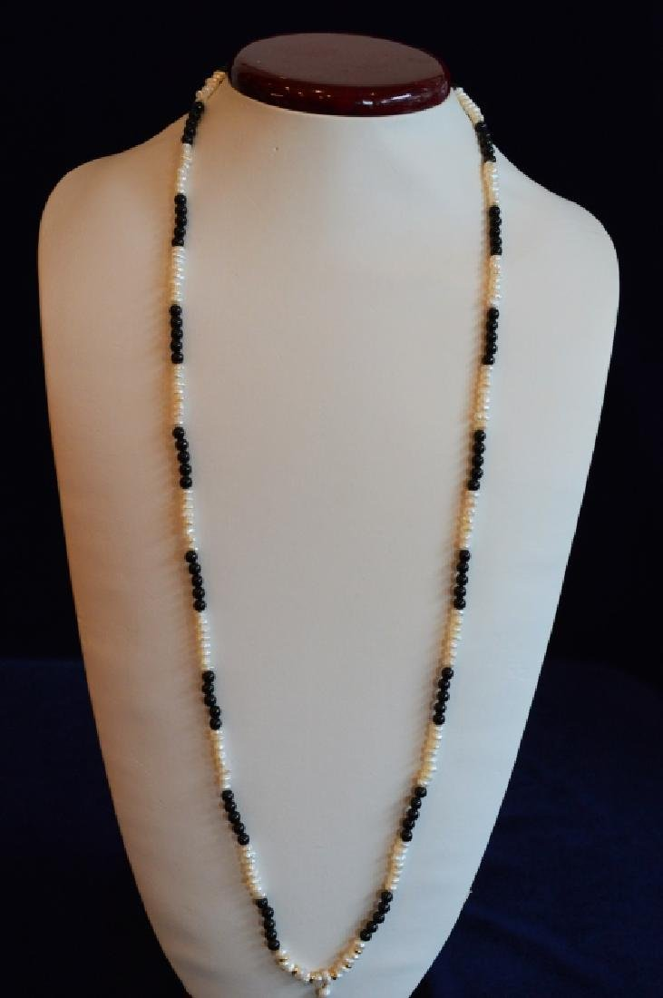 """32"""" Black Onyx Bead & Pearl Necklace with Cross - 2"""