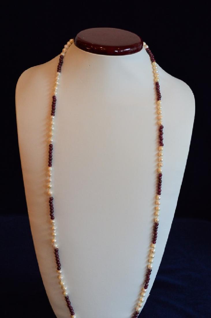 """34"""" Baroque Pearl & Garnet Color Bead Necklace"""
