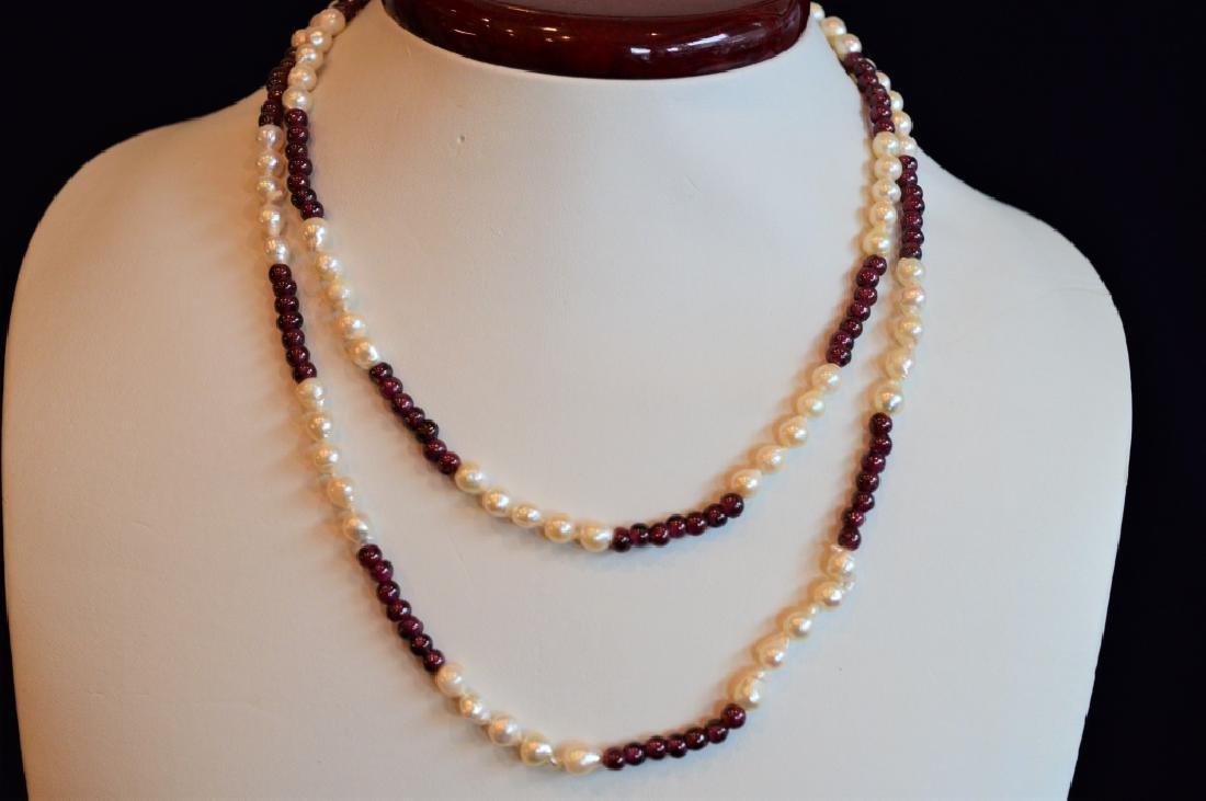 """34"""" Baroque Pearl & Garnet Color Bead Necklace - 2"""