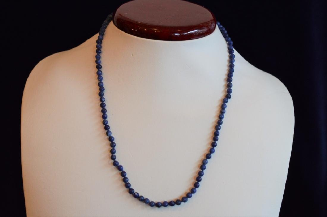 Classic Blue Marbled Lapis Bead Necklace