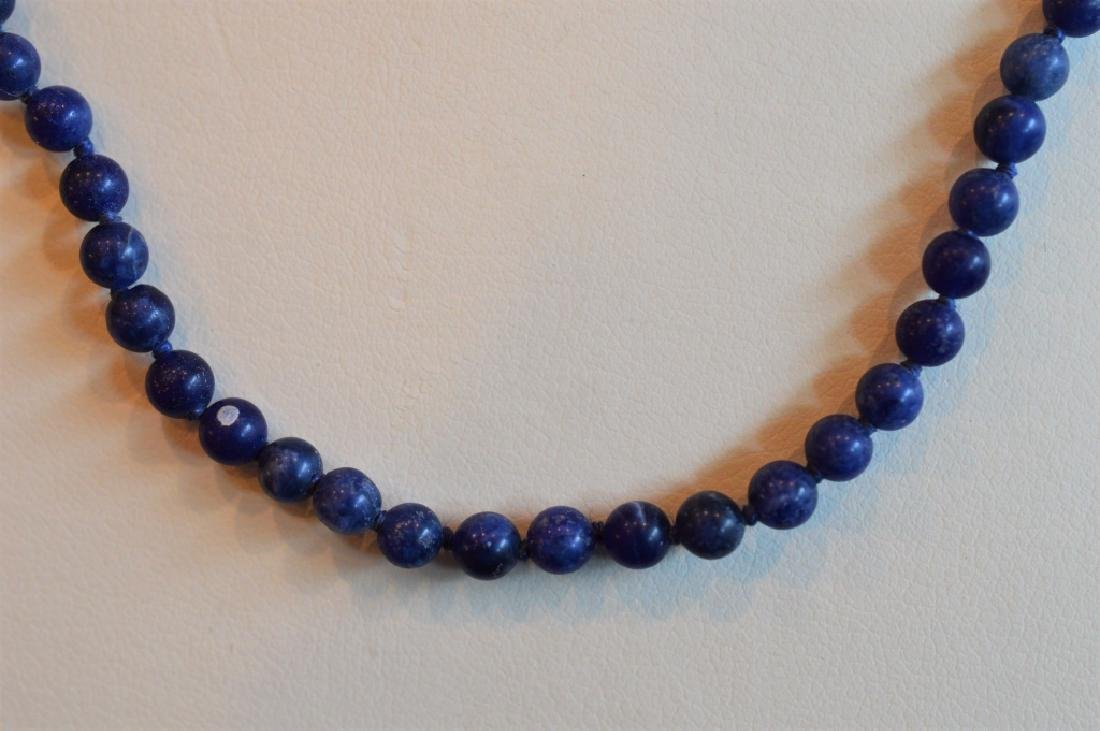 Classic Blue Marbled Lapis Bead Necklace - 2