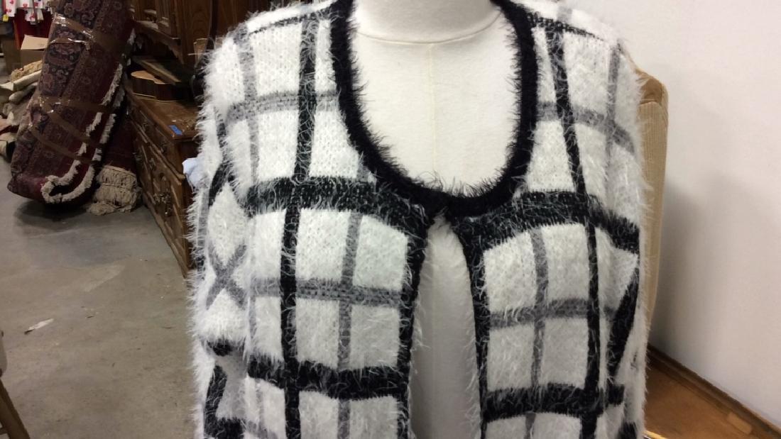 Nylon and Acrylic Full Length Plaid Sweater - 3