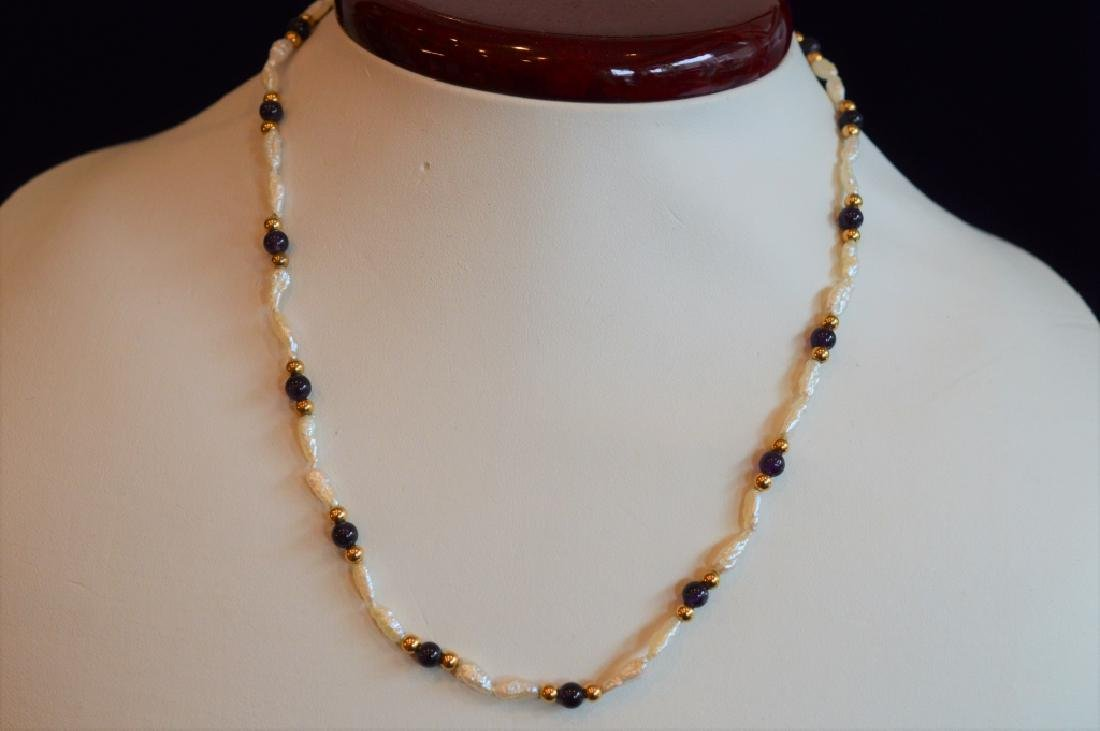 "Delicate 16"" Biwa Pearl & Amethyst Bead Necklace"