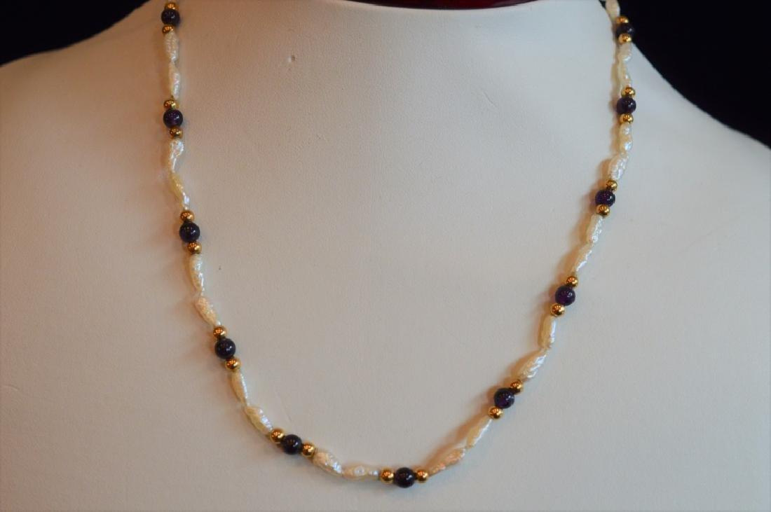 "Delicate 16"" Biwa Pearl & Amethyst Bead Necklace - 2"