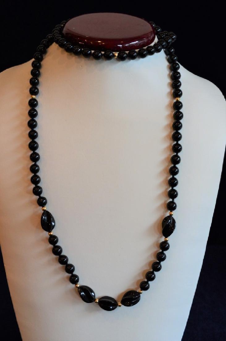 "Bold 36"" Black Onyx Bead Necklace"