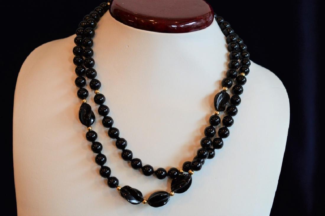 "Bold 36"" Black Onyx Bead Necklace - 2"