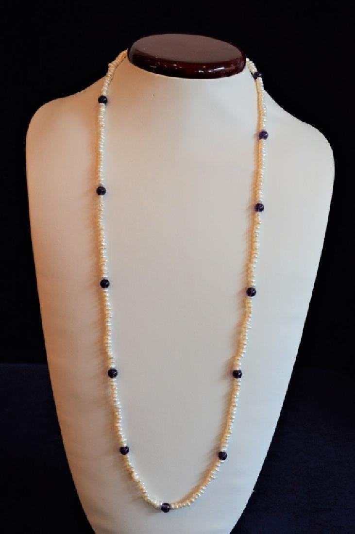 "30"" Pearl & Amethyst Beaded Necklace"