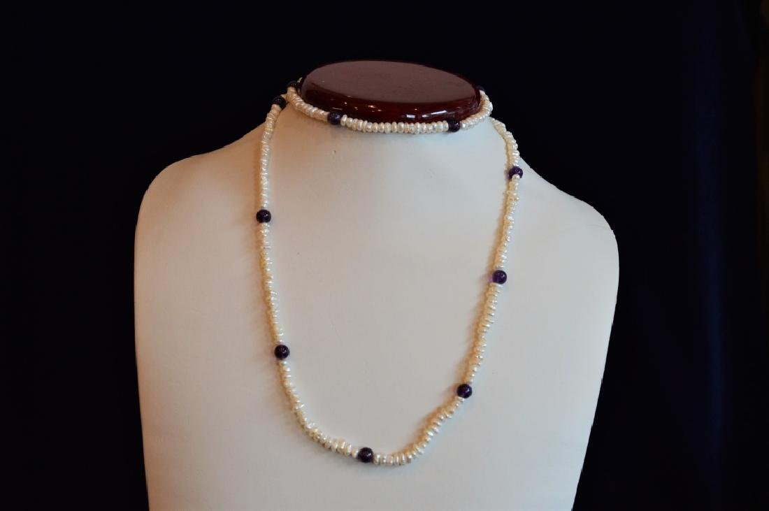 "30"" Pearl & Amethyst Beaded Necklace - 2"
