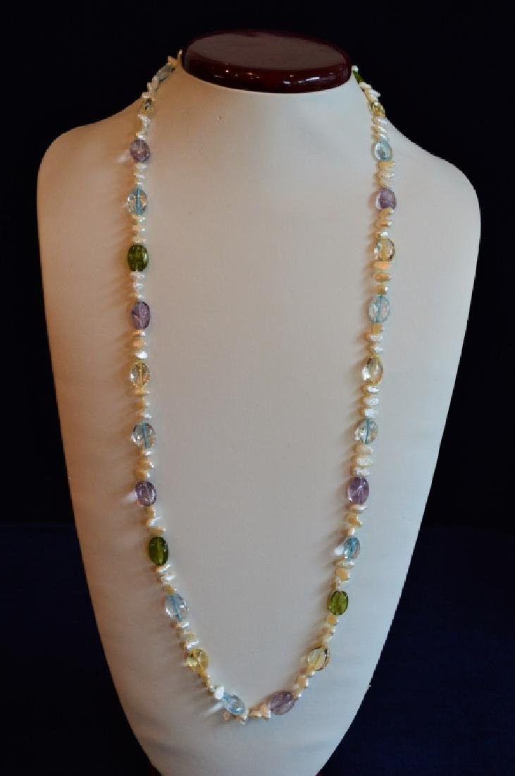 """Summery 30"""" Pearl Ncklce w Mult-Pastel Color Beads"""