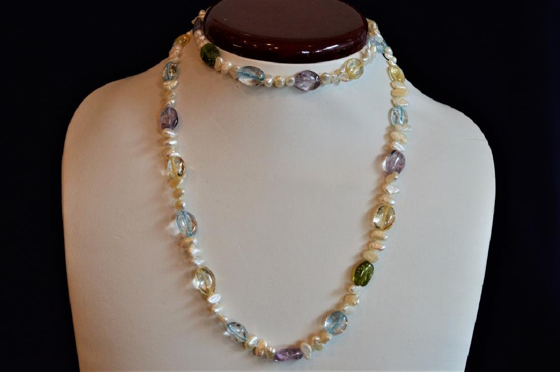 """Summery 30"""" Pearl Ncklce w Mult-Pastel Color Beads - 2"""