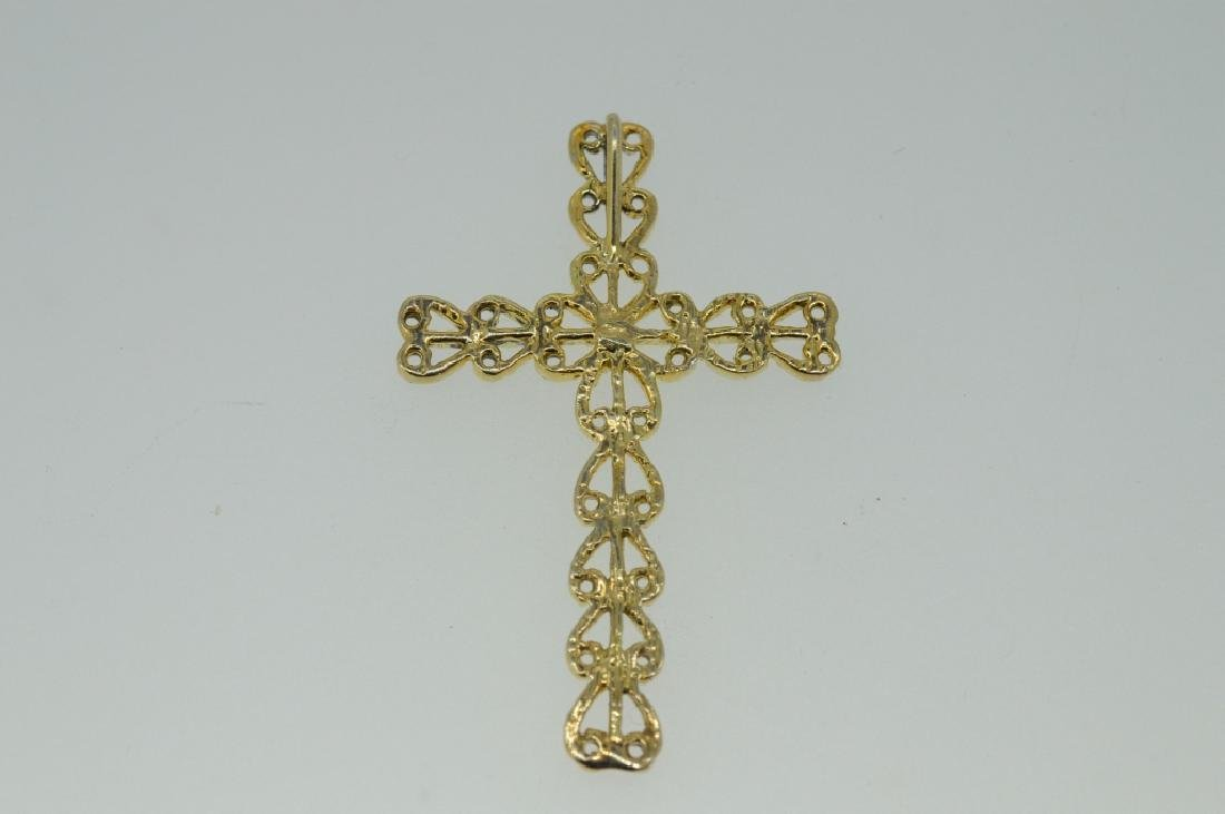 Gold-tone Metal Cross Pendant - 2