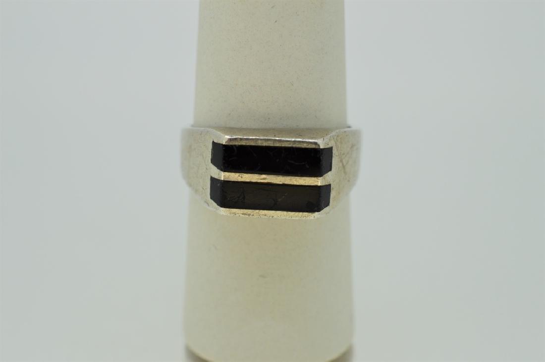 Men's Sterling & Onyx Ring - Size 9 1/2