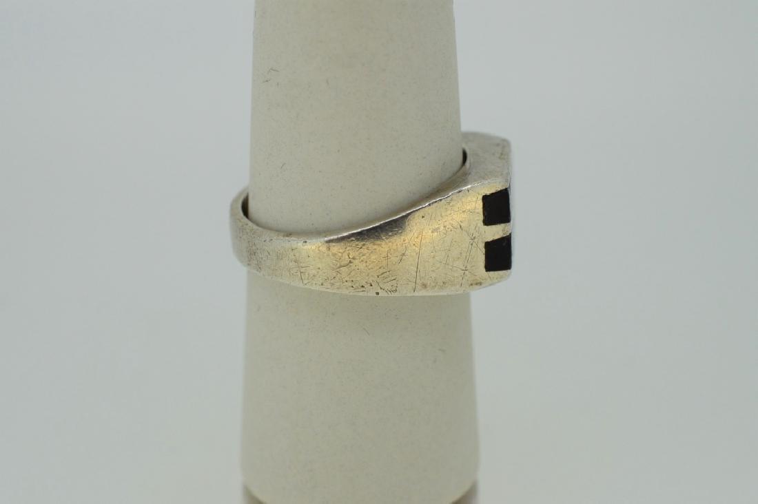 Men's Sterling & Onyx Ring - Size 9 1/2 - 2