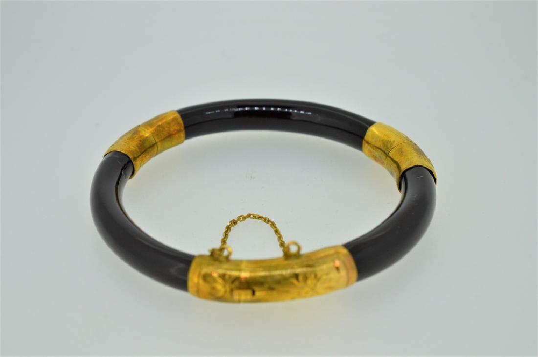14K Etchd Gold Plate Blck Composite Bangl Bracelet - 2