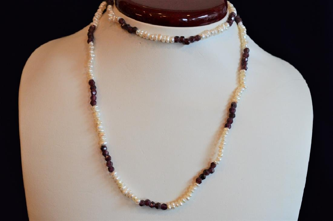 "30"" Garnet & Small Button Pearl Necklace - 2"