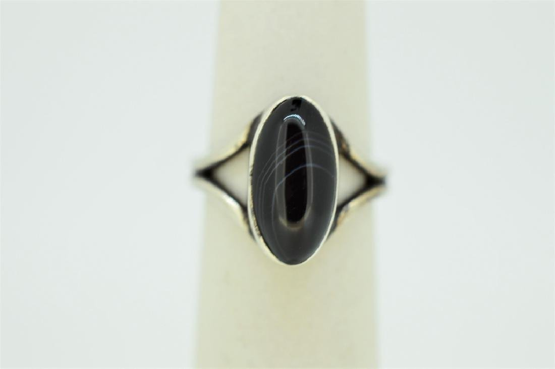 Sterling Silver & Onyx Ring - Size 5