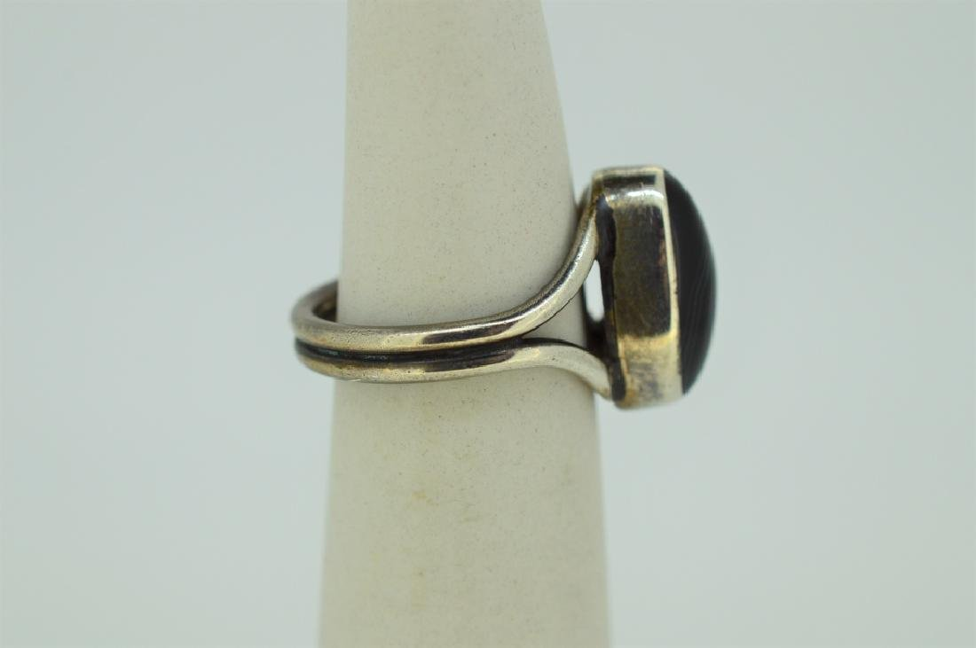 Sterling Silver & Onyx Ring - Size 5 - 2