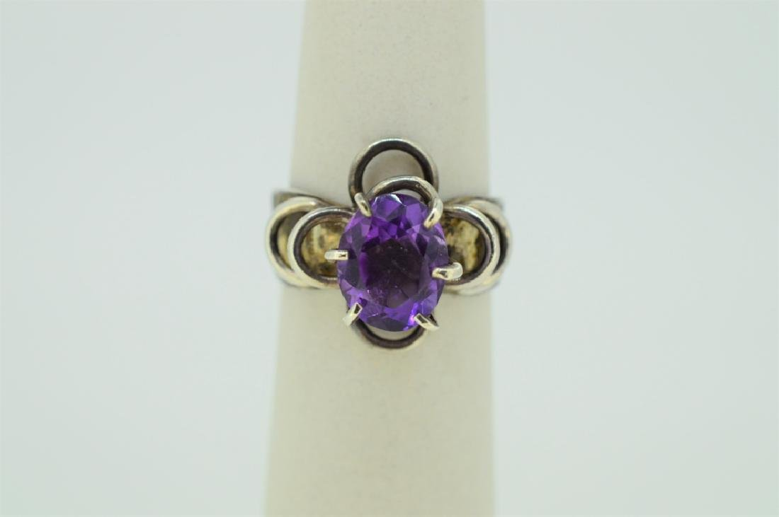 Sterlng Silvr & Natural Amethyst Floral Mount Ring
