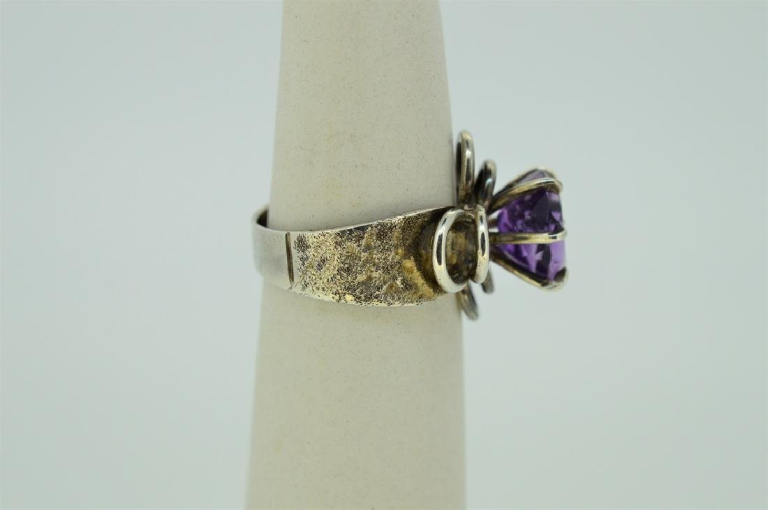 Sterlng Silvr & Natural Amethyst Floral Mount Ring - 2