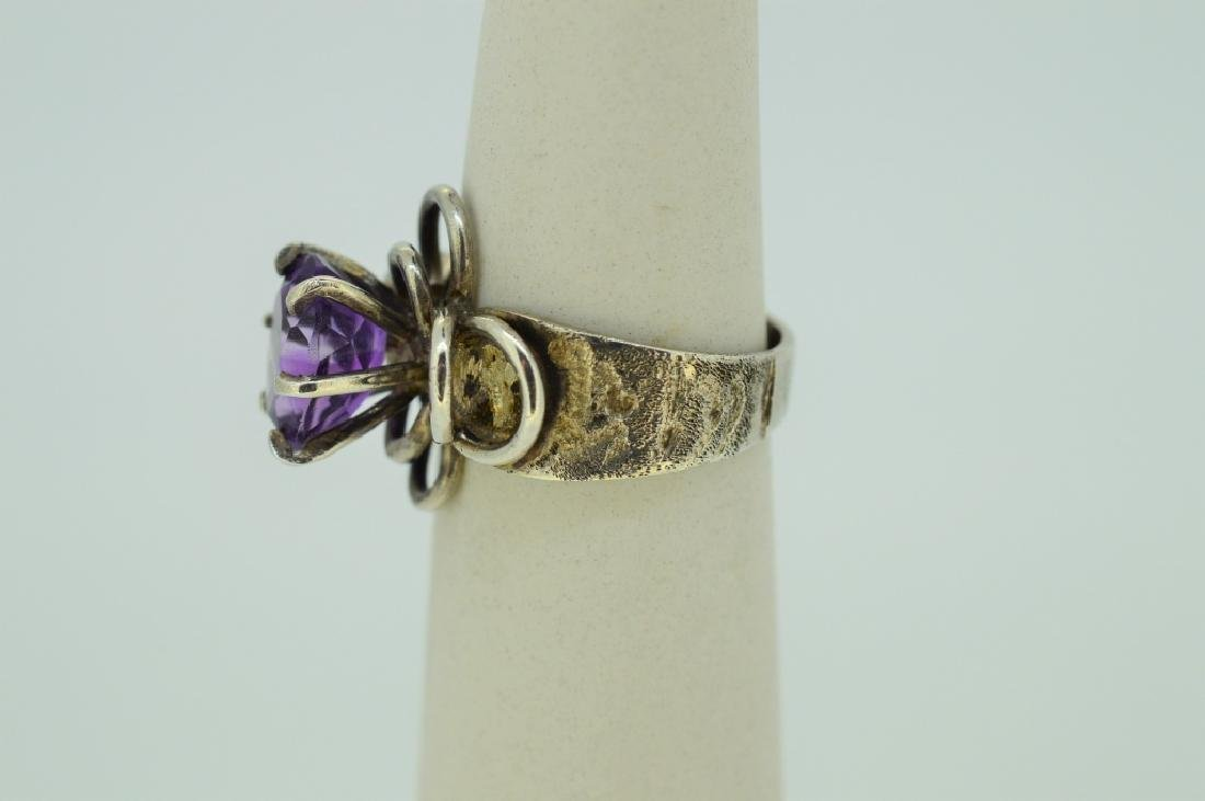 Sterlng Silvr & Natural Amethyst Floral Mount Ring - 3