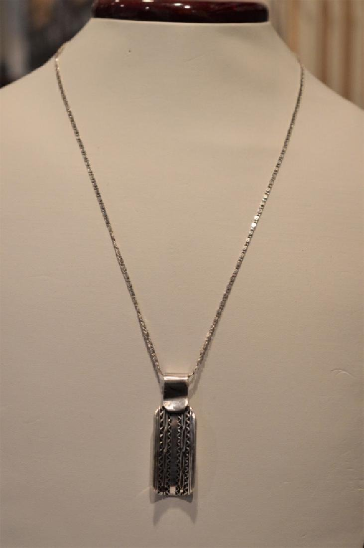 "Hand Assembled Silver Pendant on 18"" chain - 2"