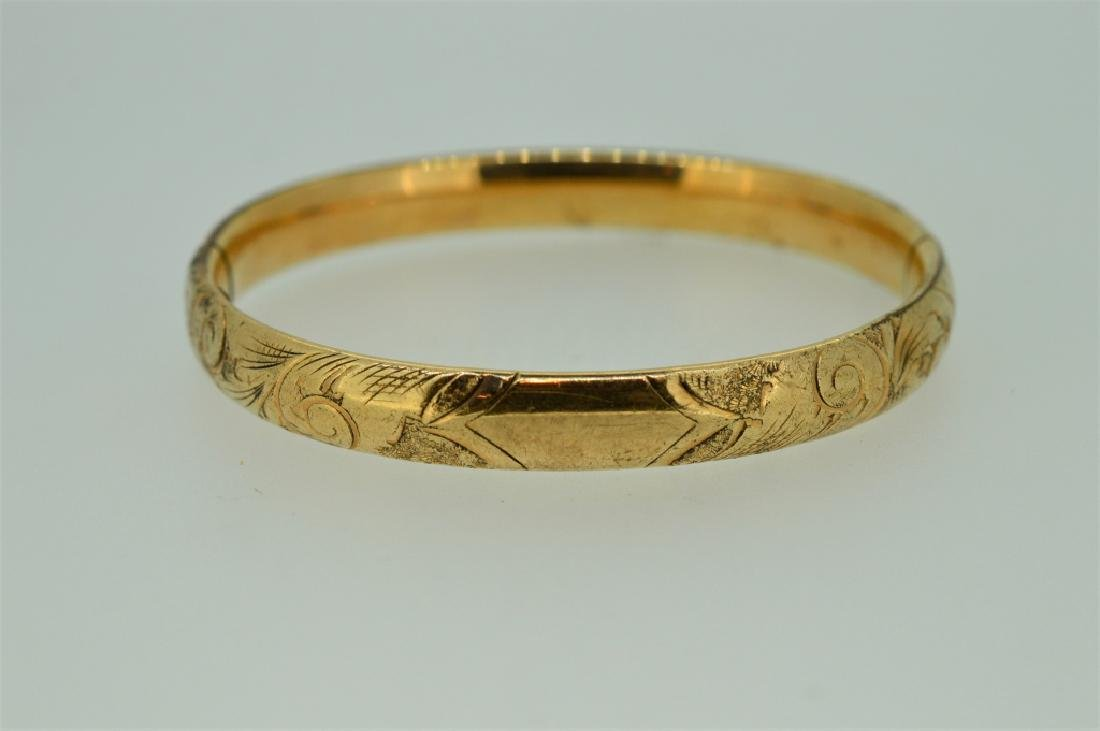 Gold plated Bangle Bracelet with Floral Etching