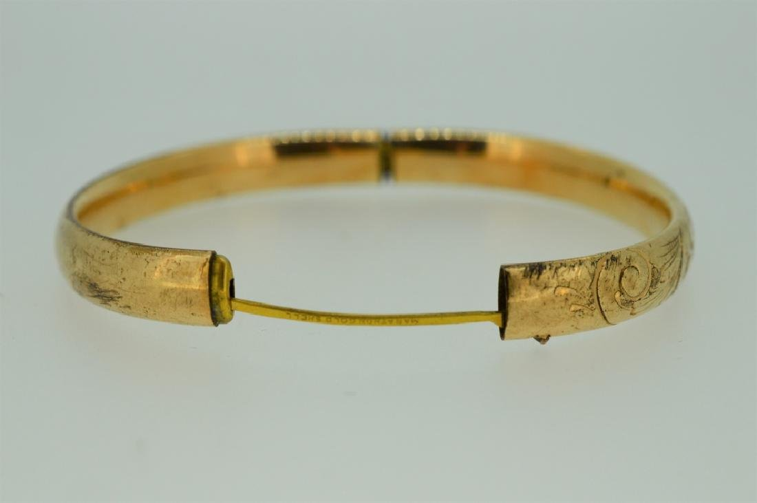 Gold plated Bangle Bracelet with Floral Etching - 2