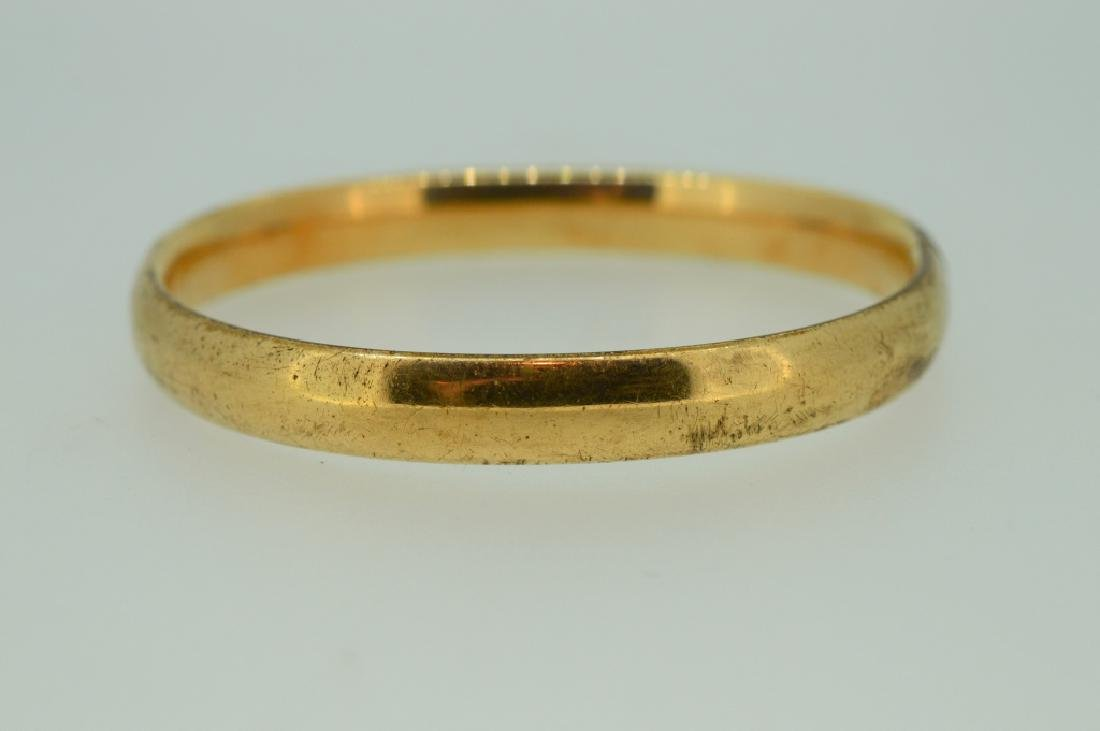 Gold plated Bangle Bracelet with Floral Etching - 3
