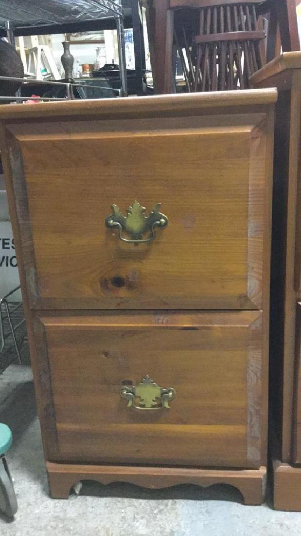 Lot 2 Brown Toned Wooden Side Table - 2