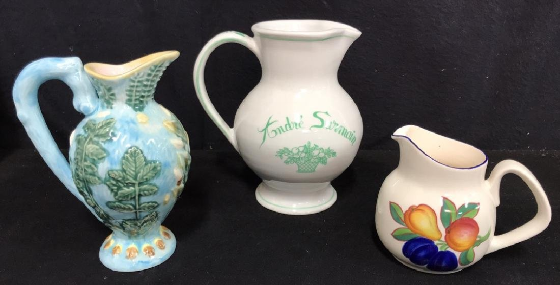 Lot 3 Hand Painted Ceramic Pitchers/Creamers