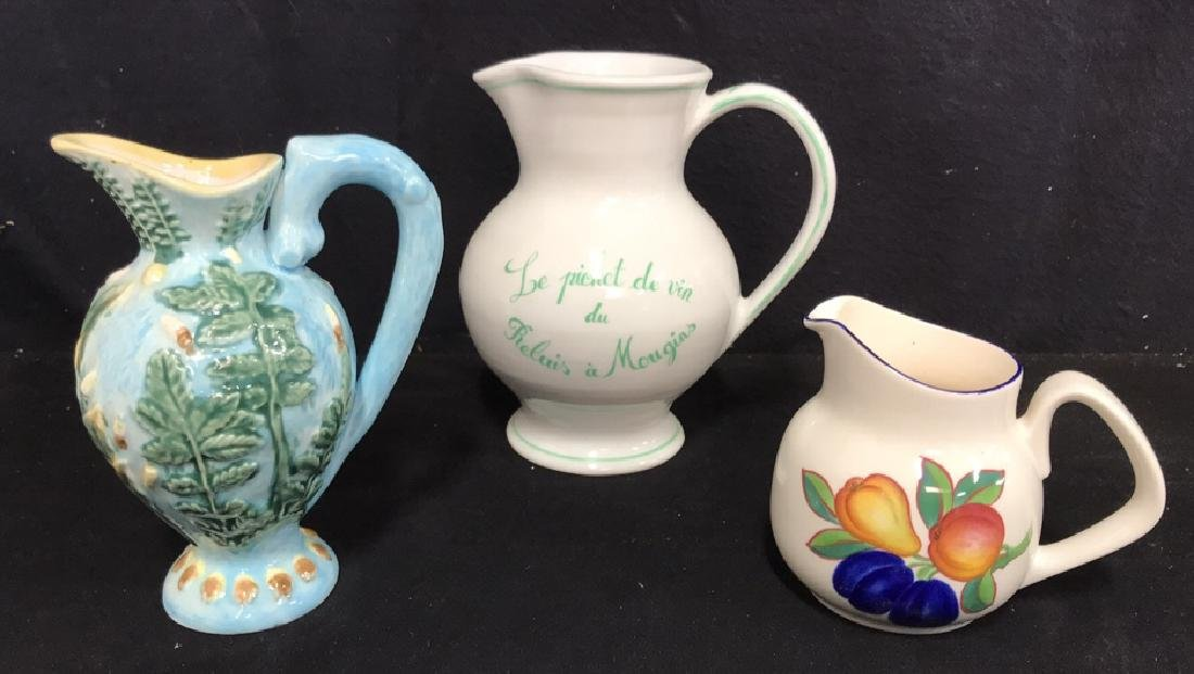 Lot 3 Hand Painted Ceramic Pitchers/Creamers - 2