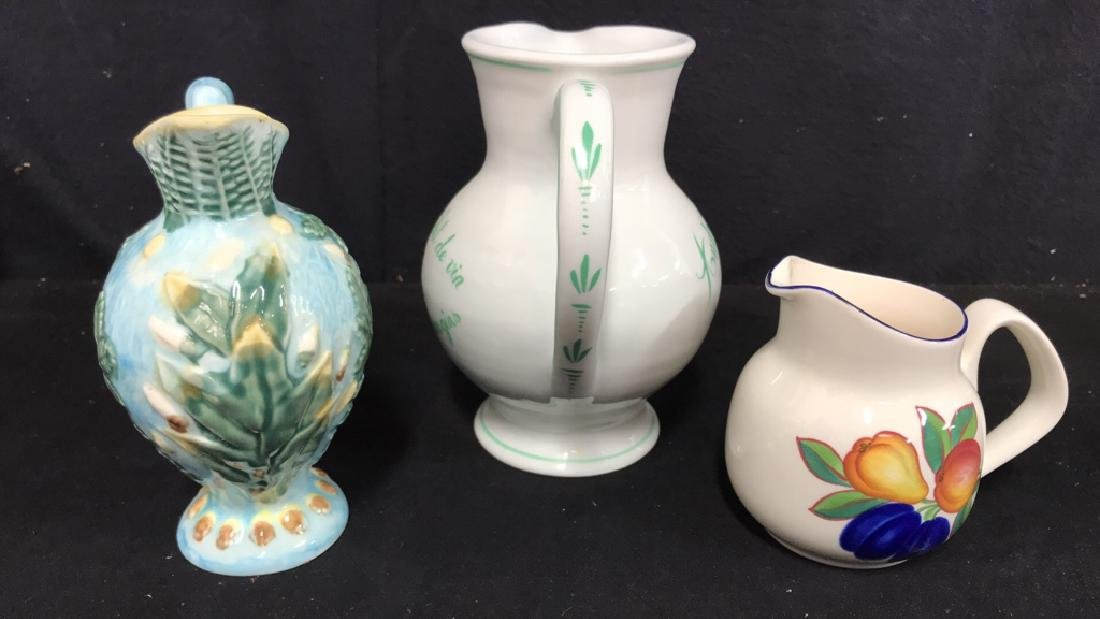 Lot 3 Hand Painted Ceramic Pitchers/Creamers - 4