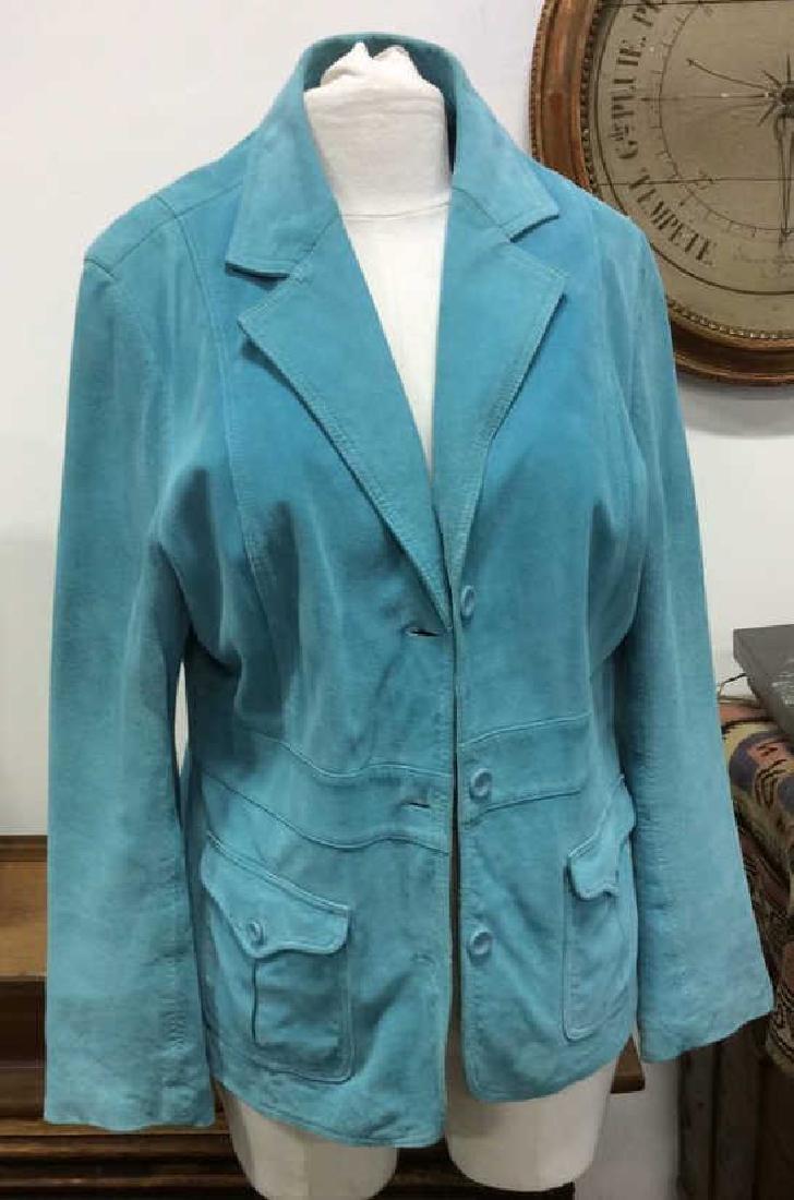 LIZ CLAIBORNE Blue Toned Suede Women's Blazer
