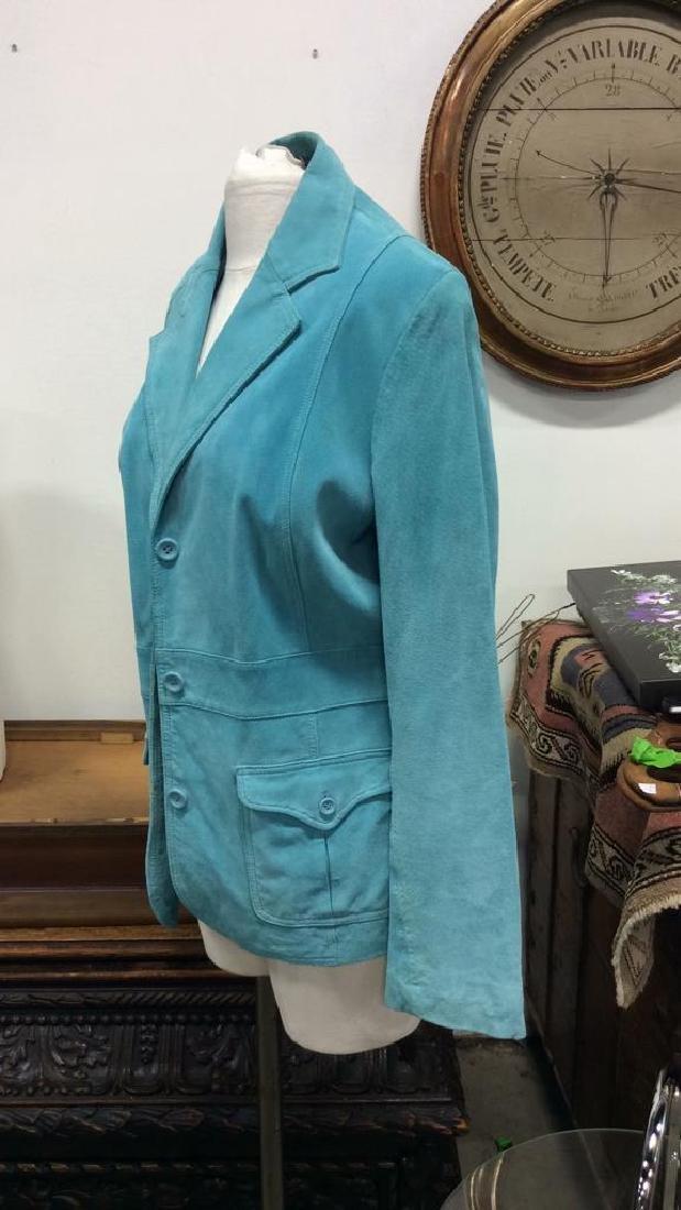 LIZ CLAIBORNE Blue Toned Suede Women's Blazer - 2