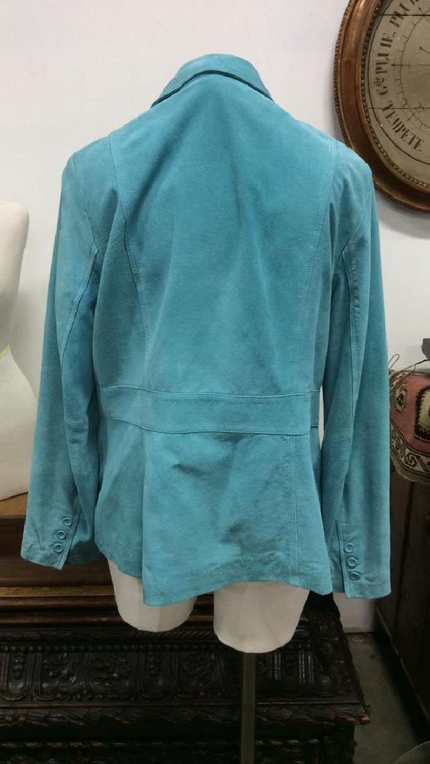 LIZ CLAIBORNE Blue Toned Suede Women's Blazer - 3