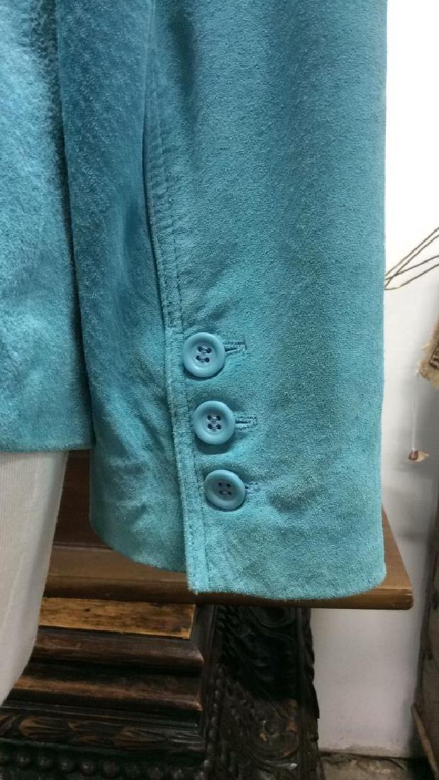 LIZ CLAIBORNE Blue Toned Suede Women's Blazer - 4