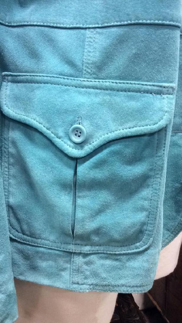 LIZ CLAIBORNE Blue Toned Suede Women's Blazer - 5