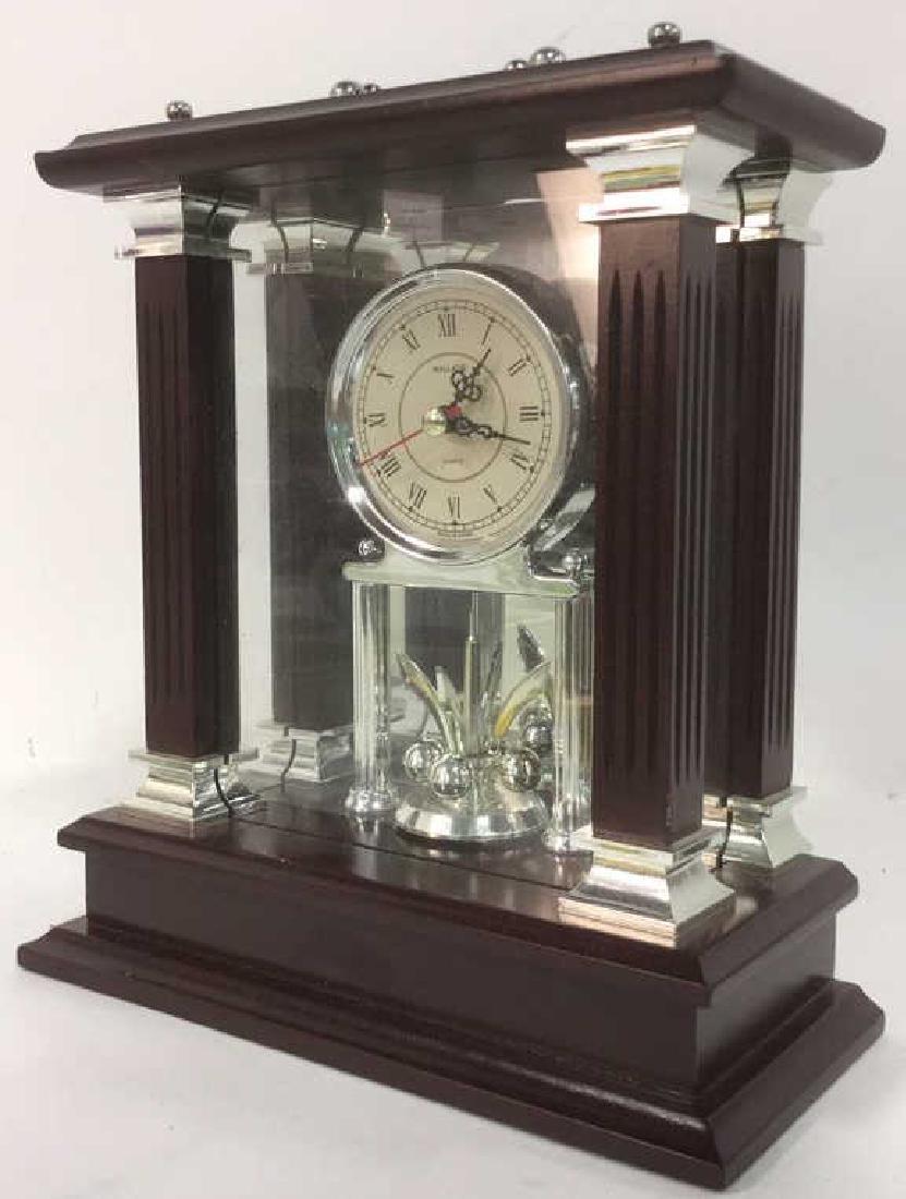 WALLACE SILVERSMITHS Wooden Desk Clock