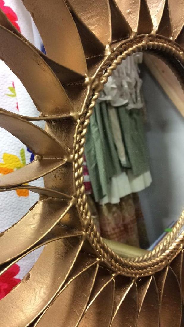 Gold Toned Metal Star burst Wall Mirror