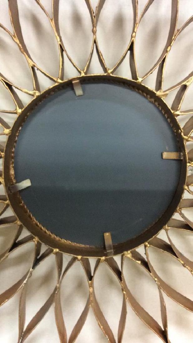 Gold Toned Metal Star burst Wall Mirror - 7